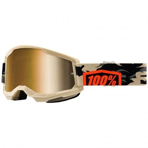 Мотоочки Ride 100% Strata II Kombat Beige/Camo Mirror Gold Lens
