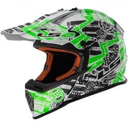 Шлем LS2 MX437 Fast Glitch White/Black/Green