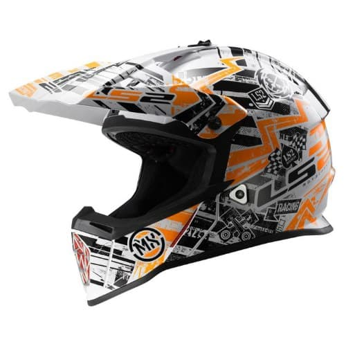 Мотошлем LS2 MX437J Fast Min Glitch White/Black/Orange