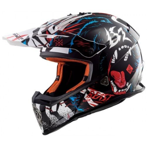 Мотошлем LS2 MX437 Fast Beast Black/White
