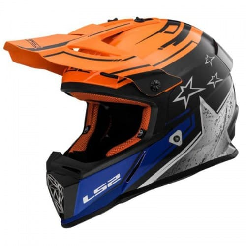 Мотошлем LS2 MX437 Fast Core Black/Orange/White