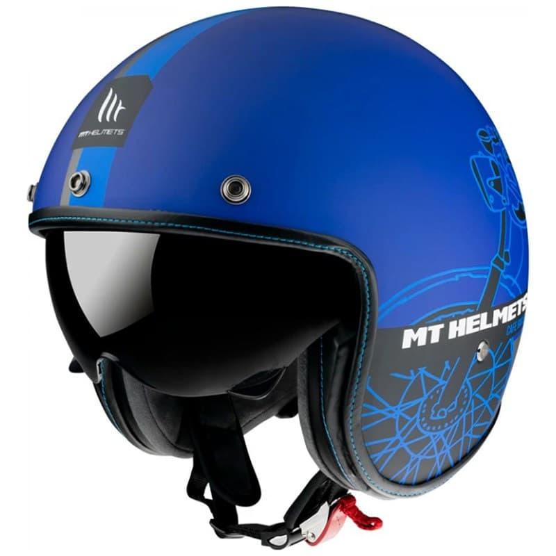 Мотошлем MT Jet Le Mans 2 SV Cafe Racer Blue