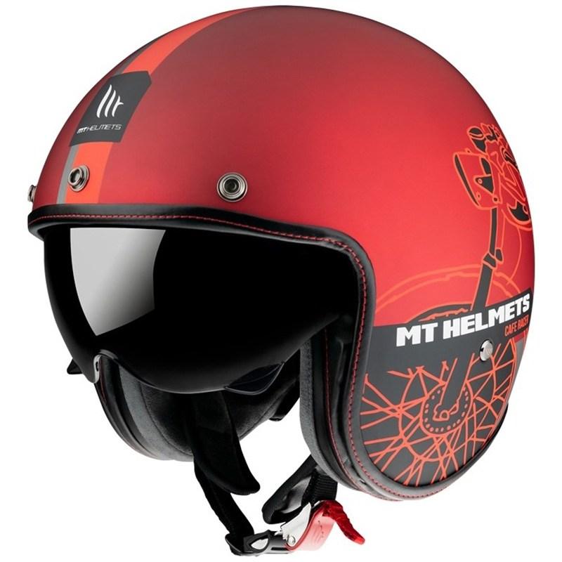 Мотошлем MT Jet Le Mans 2 SV Cafe Racer Red